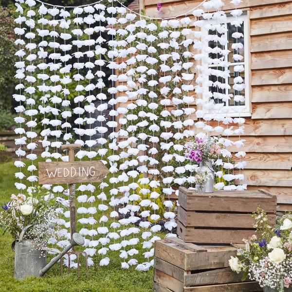 Blumen Vorhang / Backdrop 2 m x 1,8 m - weiß