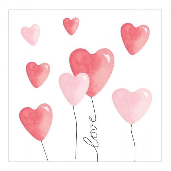 Servietten Herzluftballons 'Love' (20 Stück)