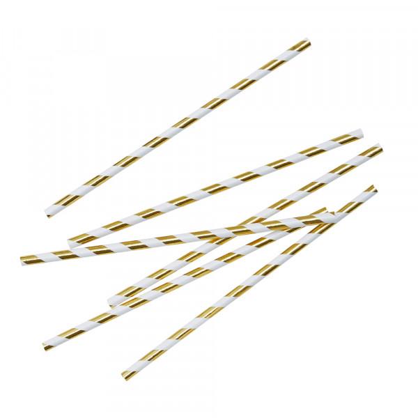 Strohhalme / Trinkhalme gestreift (25 Stück) - Gold Metallic