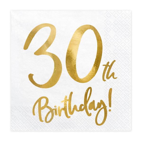 Servietten '30th Birthday' (20 Stück) weiß & gold