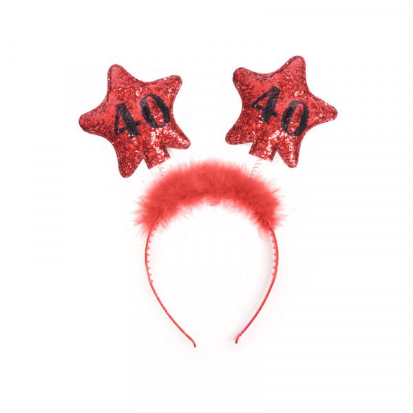 Haarreif mit Federn & Sternen '40' - rot & schwarz