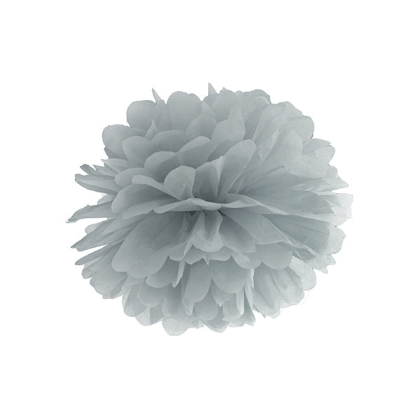Pompom 25 cm silber - grau