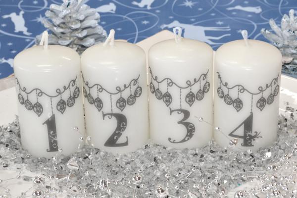 Adventskerzen Stumpenkerzen 'Weihnachtsgirlande grau' 8 x 5 cm