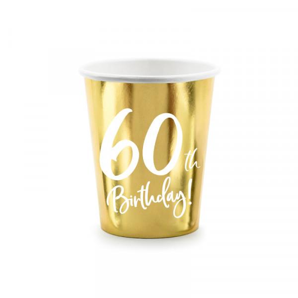 Becher '60th Birthday!' (6 Stück) - gold