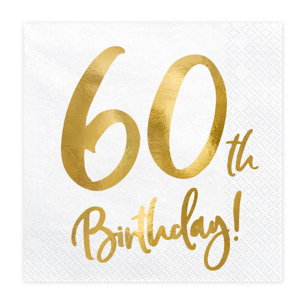 Servietten '60th Birthday' (20 Stück) weiß & gold