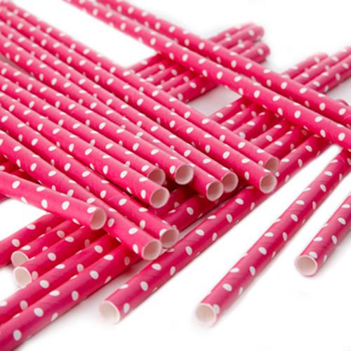 Strohhalme / Trinkhalme Punkte (25 Stück) - pink