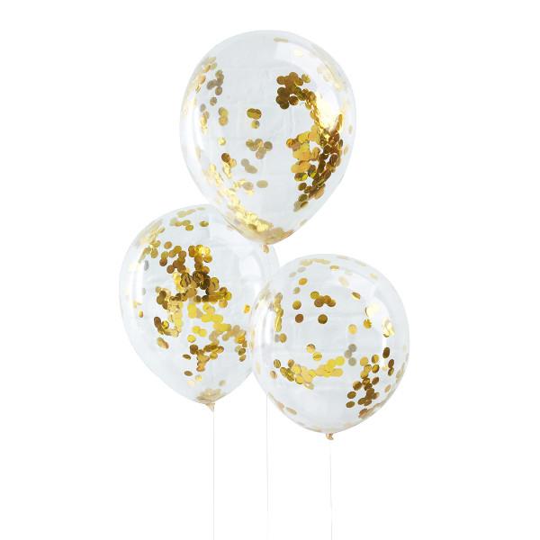 Konfetti Luftballons 5 Stück - gold