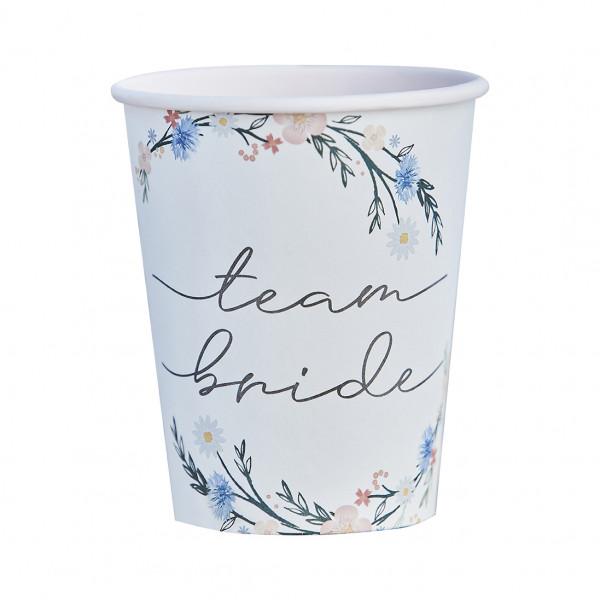 Boho Floral 'Team Bride' Becher (8 Stück)