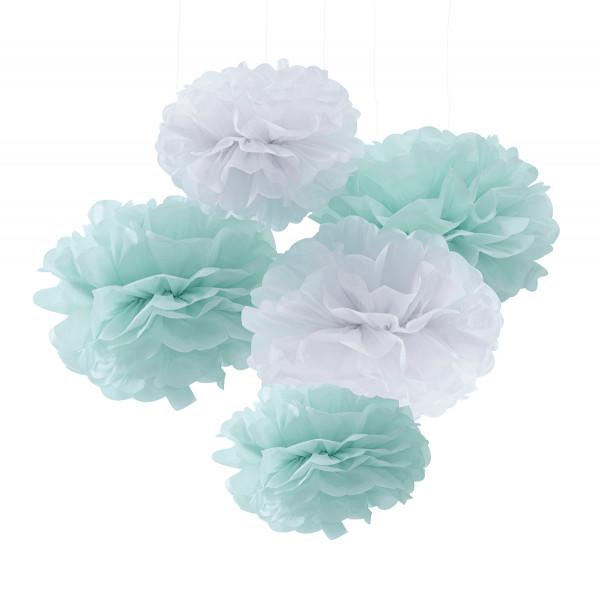Pompoms (5 Stück) - mint & weiß