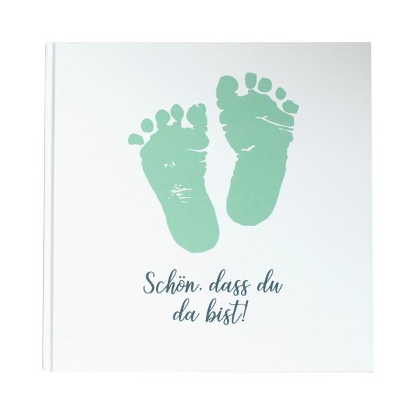 Gästebuch Babyfüße 'Schön, dass du da bist!' mint