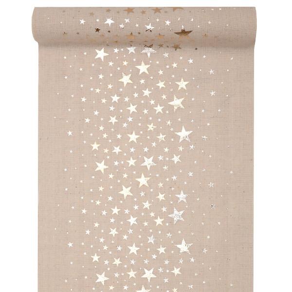 Tischläufer Sterne 28 cm x 3 m - natur & gold