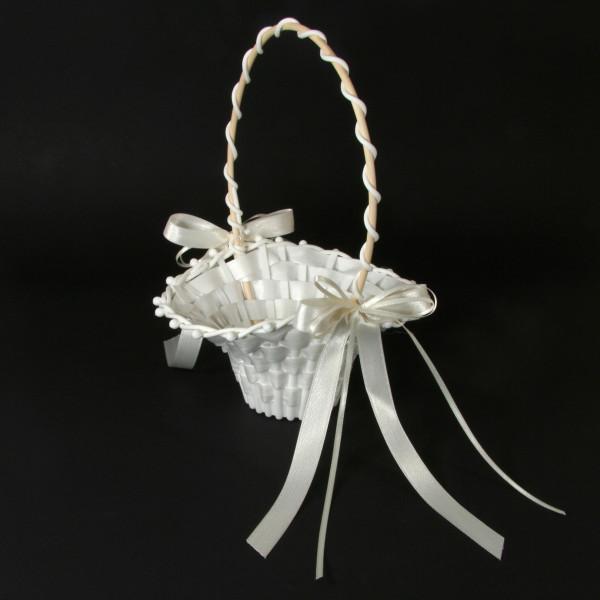 Streukörbchen mit Schleife - weiß & creme