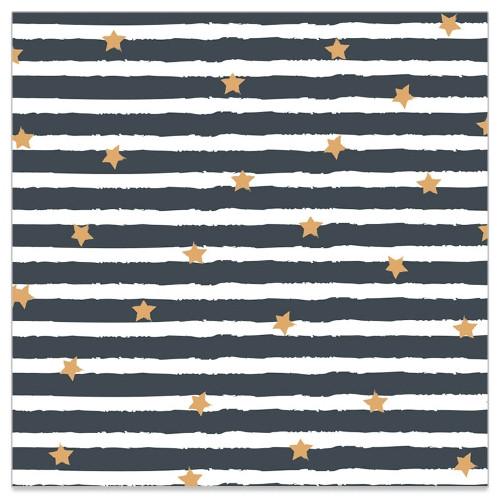 Servietten 'Sterne & Streifen' (20 Stück) - grau & gold