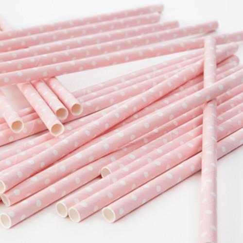 Strohhalme / Trinkhalme Punkte (25 Stück) - rosa