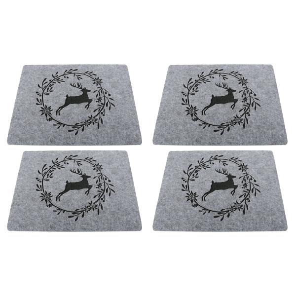 Tischsets / Platzsets 'Hirsch mit Kranz', Filz (4 Stück) 45 cm x 35 cm - grau