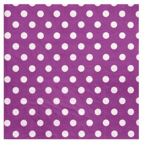 Servietten Dots / Punkte (20 Stück) - lila