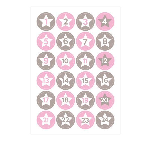 Adventsaufkleber / Sticker 'Nele' Sterne - rosa & grau