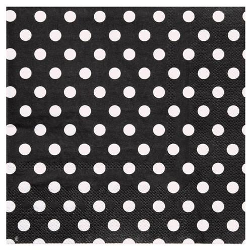 Servietten Dots / Punkte (20 Stück) - schwarz