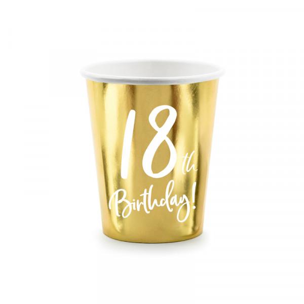 Becher '18th Birthday!' (6 Stück) - gold