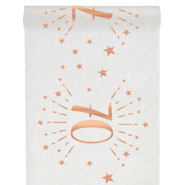 Tischläufer 70. Geburtstag - weiß & roségold