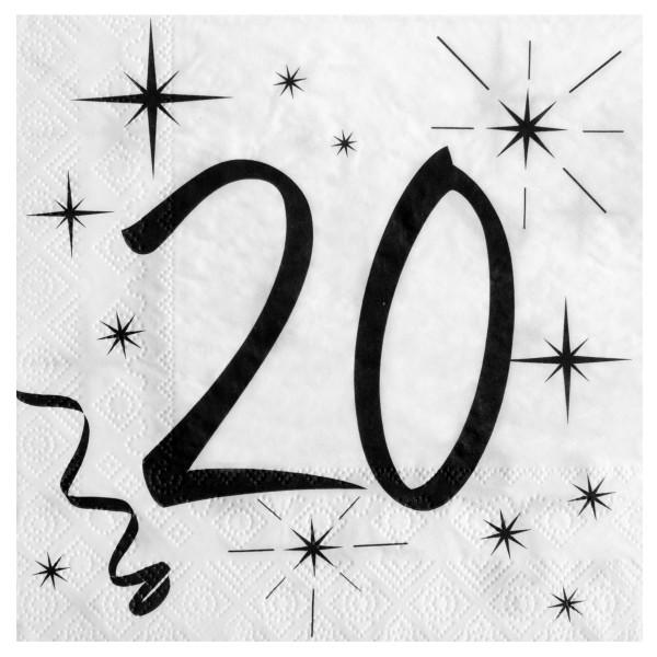 Servietten 20. Geburtstag - weiß & schwarz