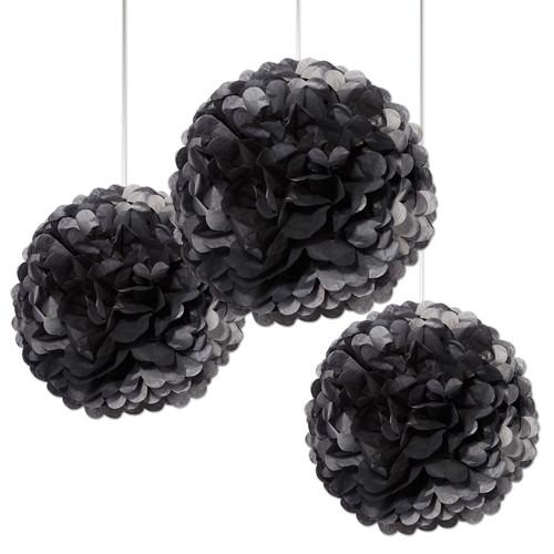 Pompoms 38 cm (3 Stück) - schwarz