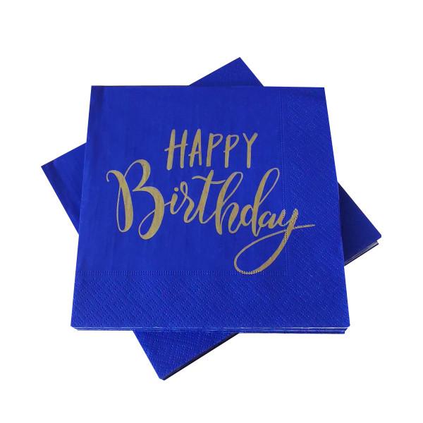 Servietten 'Happy Birthday' blau & gold (20 Stück)