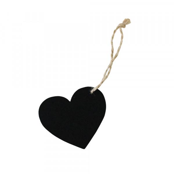 Anhänger Herz Tafel (6 Stück) - schwarz