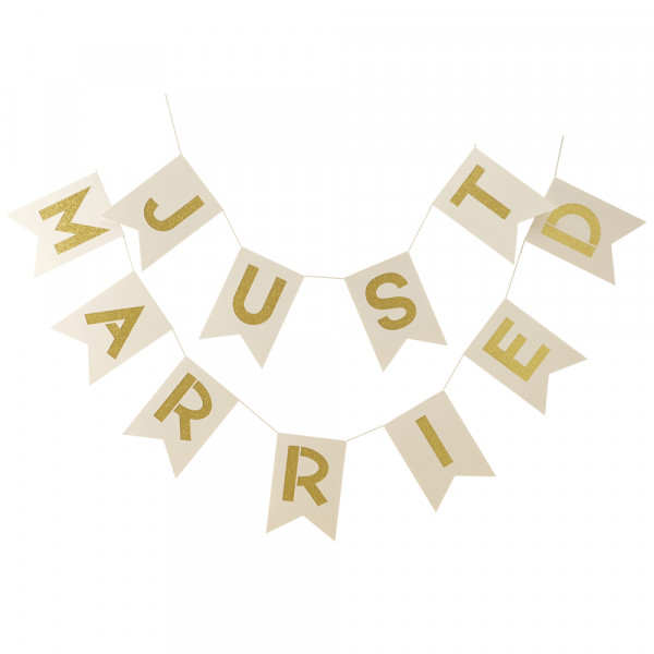 Girlande 'Just married' - creme & gold