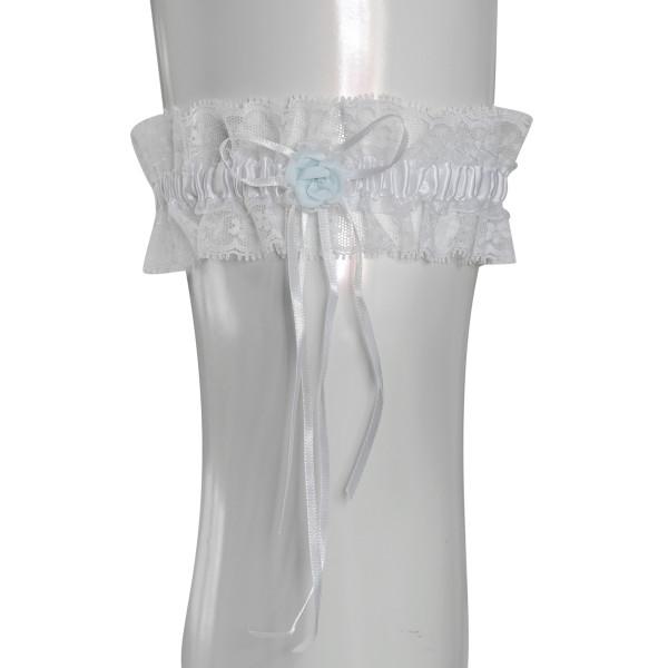 Strumpfband mit Rose - weiß & hellblau