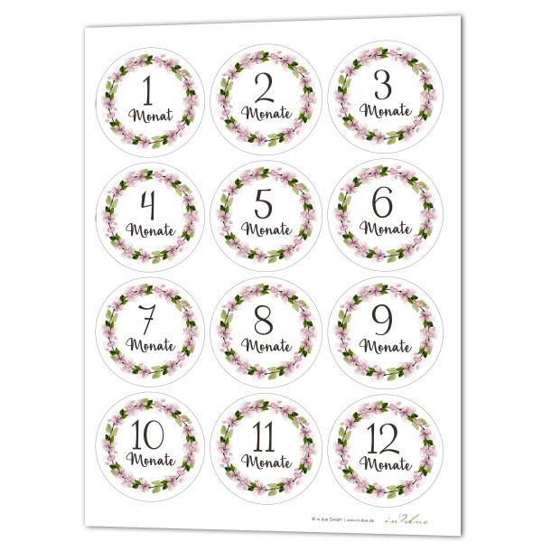 12 Aufkleber / Sticker Meilenstein 'Blumenkranz'