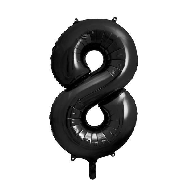 Folienballon '8' 86 cm - schwarz
