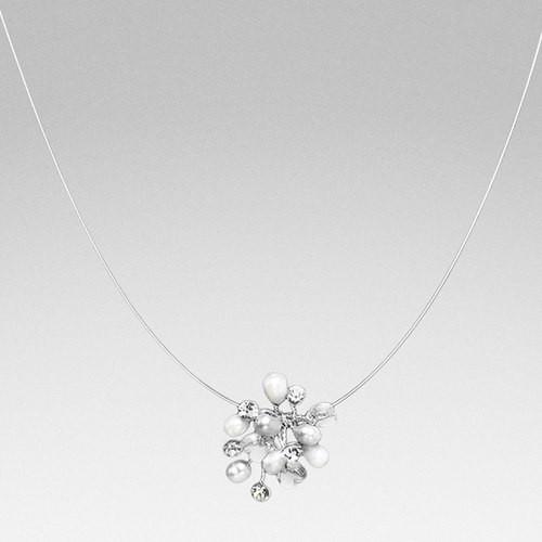 Kette Perlenblüte mit Kristallherzen