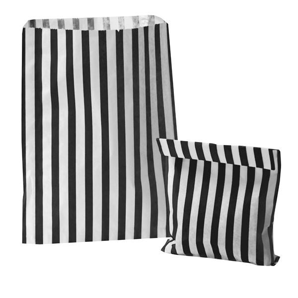 24 Papiertüten / Flachbeutel 'Streifen' - schwarz & weiß