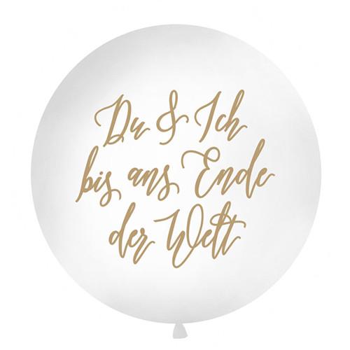 Jumbo Ballon Du & Ich' 100 cm - weiß & gold