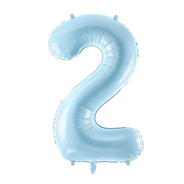 Folienballon '2' 86 cm - hellblau