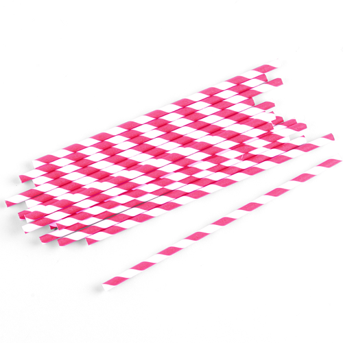 Strohhalme / Trinkhalme gestreift (75 Stück) - pink