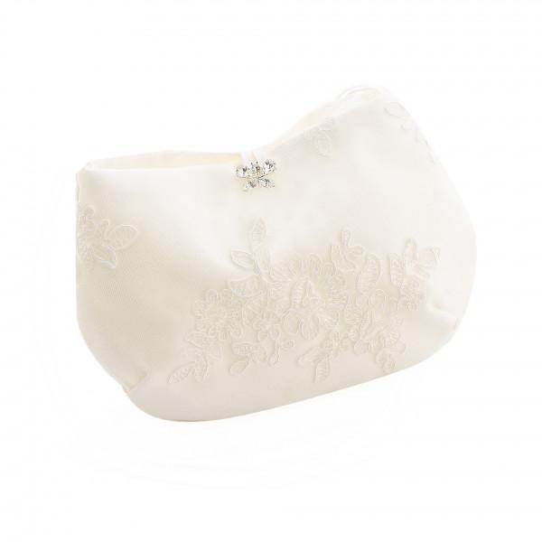 Brauttasche mit Spitzenapplikation & Strass-Schmetterling, creme