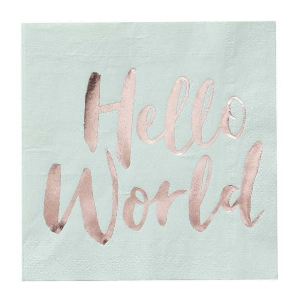 Hello World Servietten (20 Stück) - mint & roségold