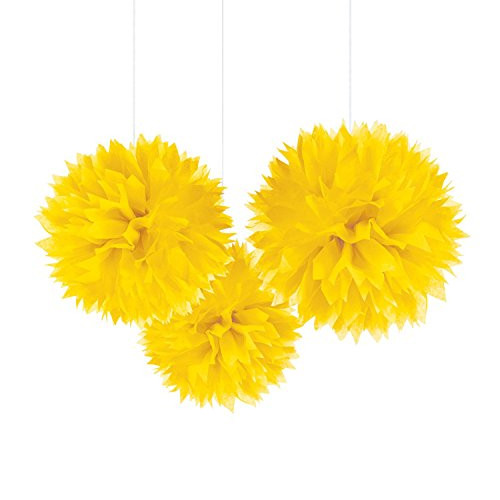 Pompoms 40 cm (3 Stück) - gelb