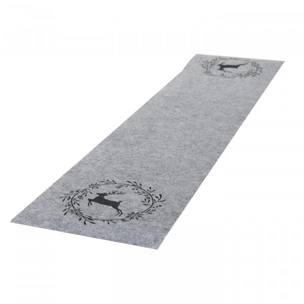 Tischläufer 'Hirsch mit Kranz', Filz 120 cm x 30 cm - grau