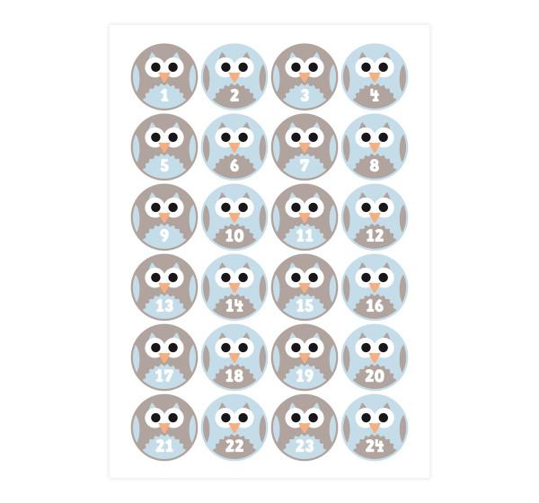 Adventsaufkleber / Sticker 'Eule' - hellblau & taupe