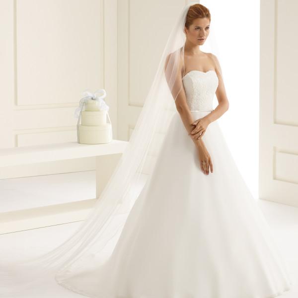 Brautschleier 'Soft' mit Kurbelkante Länge 300 cm - creme