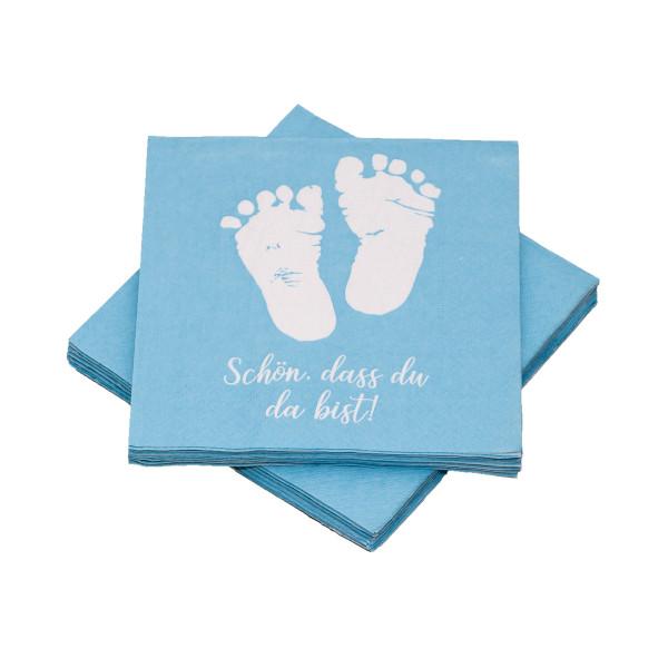Servietten Babyfüße - Schön, dass du da bist - hellblau (20 Stück)