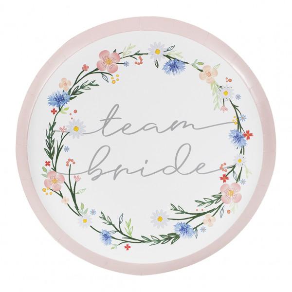 Boho Floral 'Team Bride' Teller (8 Stück)