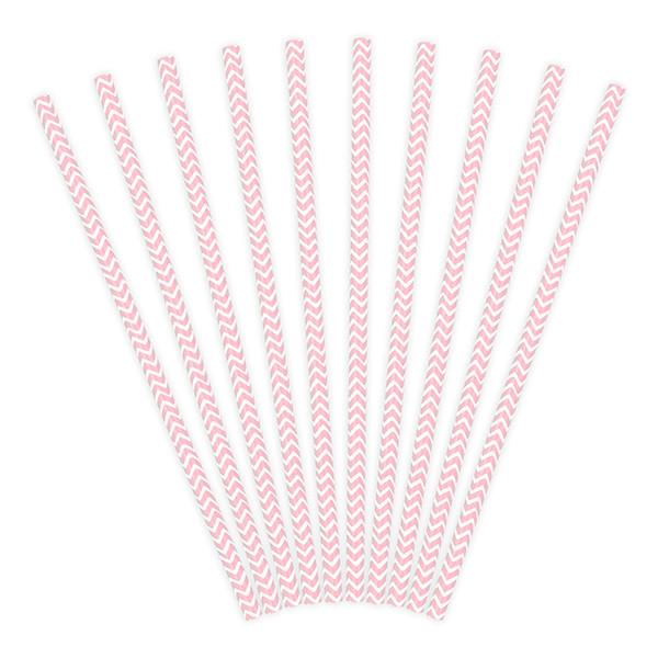 Strohhalme / Trinkhalme Chevron (10 Stück) - rosa