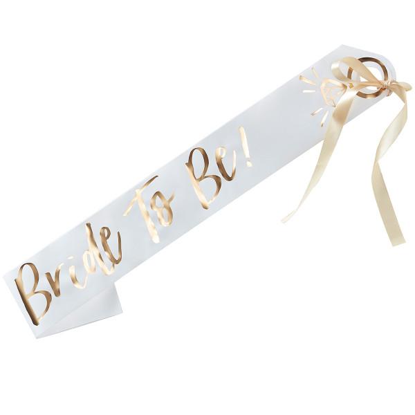 I do Crew Bride to be Schärpe - weiß & gold