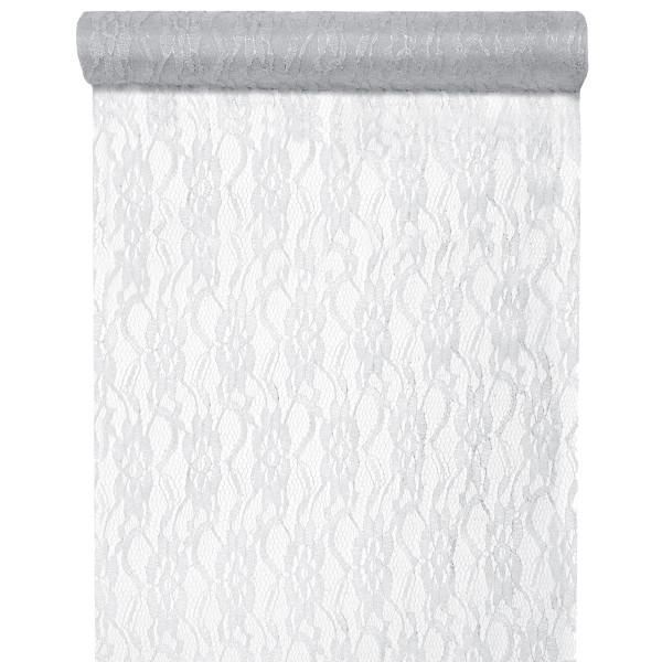 Tischläufer Spitze Lurex 28 cm x 5 m - silber