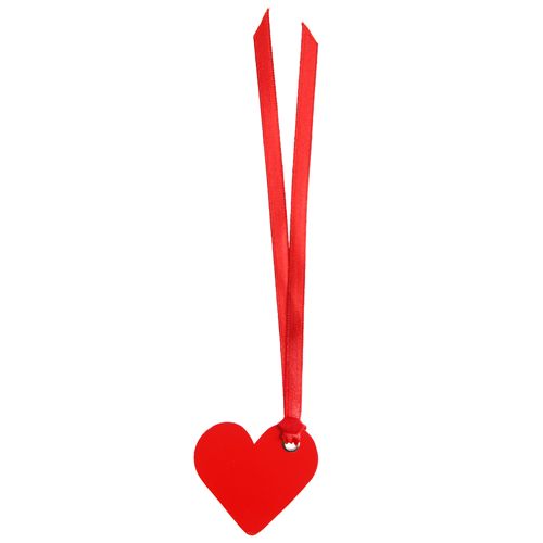 Tischkärtchen 'Herz' mit Satinband (12 Stück) - rot