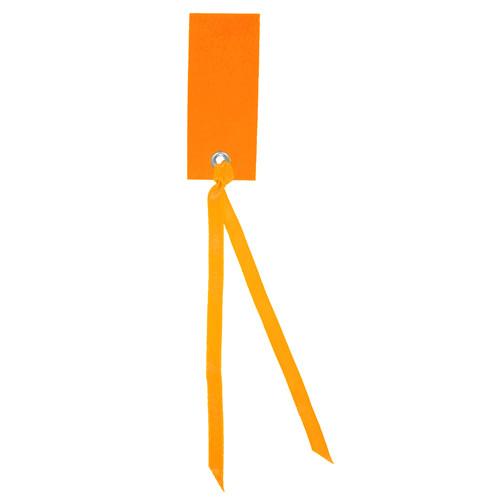 Tischkärtchen mit Satinband (12 Stück) - orange